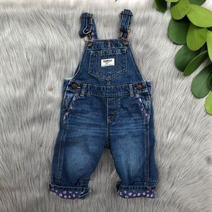 Oshkosh B'gosh Denim Overalls Floral Trim 9 M